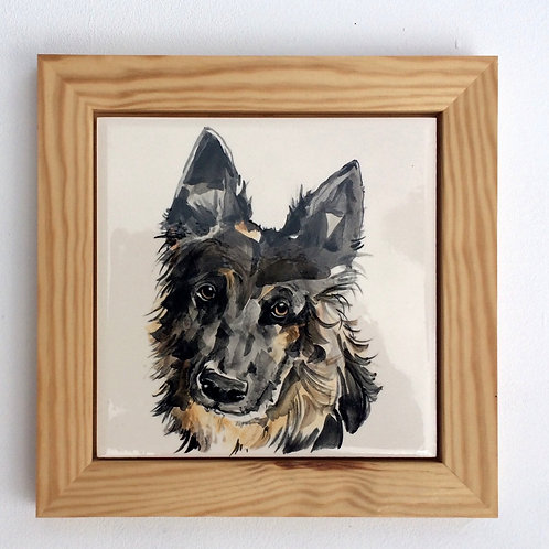 Pet Portrait Framed Plaque or Trivet