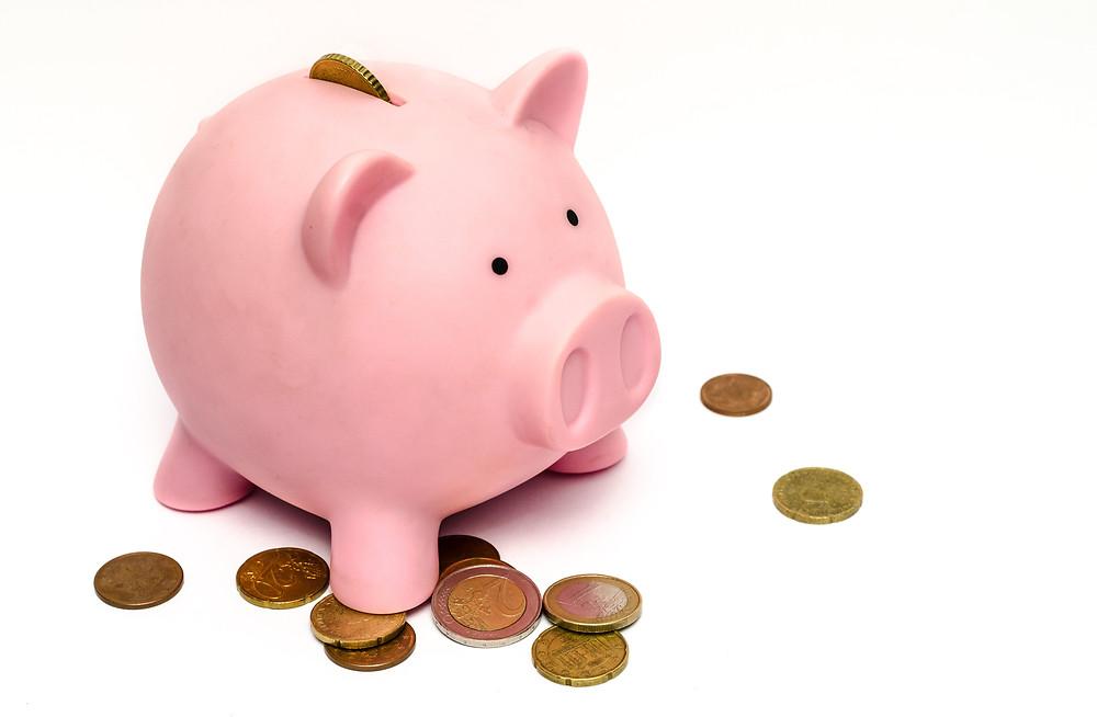ahorro, marrano, monedas