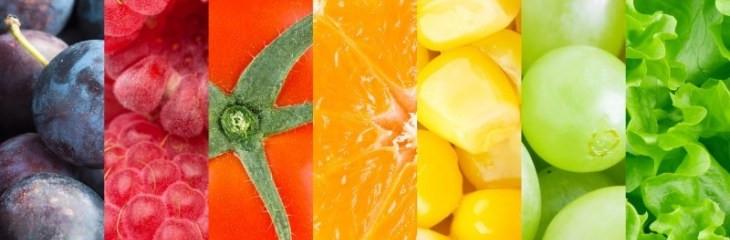 verduras, frutas, fir, verde, rojo, amarillo, morado