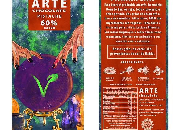 Chocolate 60% cacau recheado com pasta de pistache