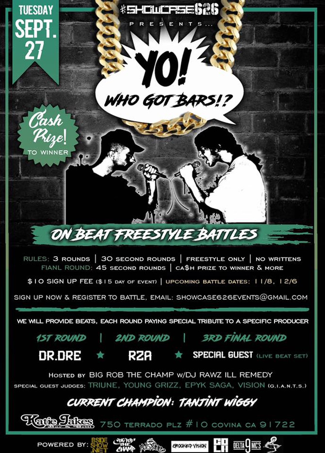 Tanjint defends his Showcase626: Yo, Who Got Bars?! On Beat Freestyle Battle title on 9/27/16