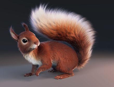 Squirrel, Yeti, Maya, Groom, Fur, Hair, Arnold