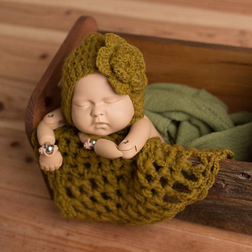 ガラ紡紬の綿糸使用 ボンネットとお花(お花は後付けできるよう固定していません)