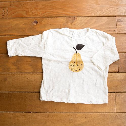 洋梨刺繍のロングTシャツ