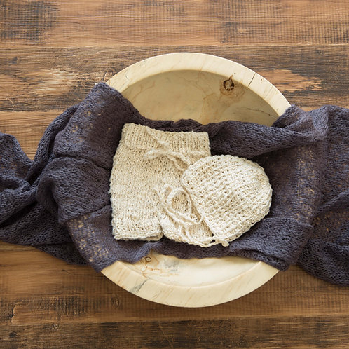 オーガニックコットン 手編みズボンとボンネットのセット