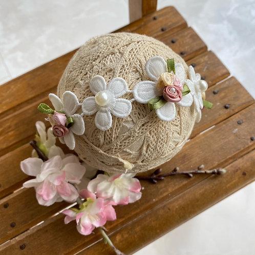 パールビーズ付き、お花のヘットドレス