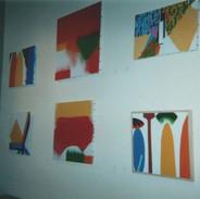 Une partie de l'accrochage de mes peintures (sur toile & sur bois) de 2002, même lieu.
