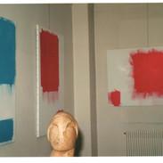 """Vue de 3 toiles de la série """"Carrés & Rectangles Doubles"""" (1995), galerie PMD, 1996"""