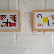 Deux oeuvres sur papier de l'exposition au Centre d'Animation Brancion, 2015