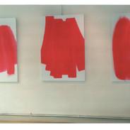 Vue de 3 toiles de ma première exposition, Galerie PMD, 1995
