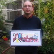 Votre serviteur avec une des oeuvres exposées dans l'atelier de Christine Boiry, Montreuil, 2005