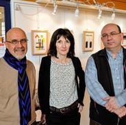 Les 3 artistes de l'expo. au Centre d'Animation Brancion, en 2015