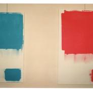 """Vue de 2 toiles de la série """"Carrés & Rectangles Doubles"""" (1995), galerie PMD, 1996"""