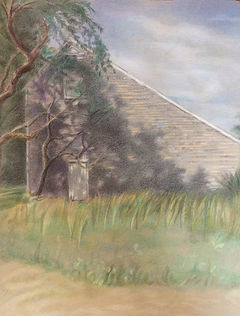 Playhouse Barn colored pencil drawing