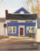 Blue House on Main oil painting