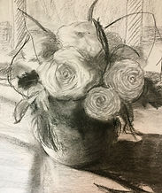 Flower Arrangement charcoal drawing