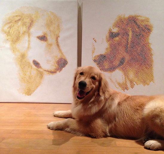pixel art dog painting of Golden Retreiver Lupi