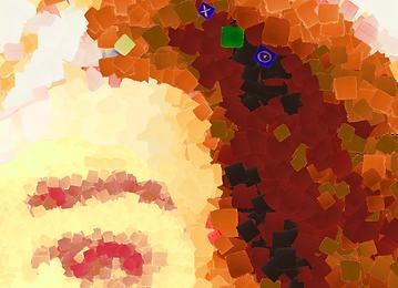 detalhe do autorretrato da artista Argenide Ghini que foi seu primeiro NFT na plataforma OpenSea