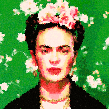 Frida em pintura digital da artista Argenide Ghini