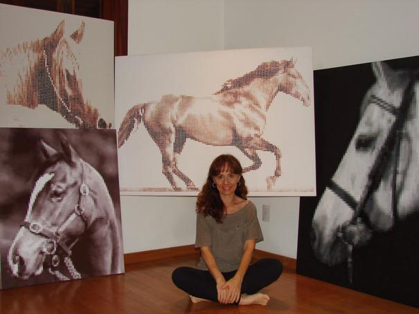 pinturas de cavalos em tinta acrílica sobre tela