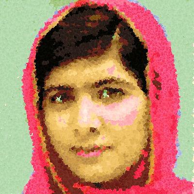 Malala em pintura digital da artista Argenide Ghini