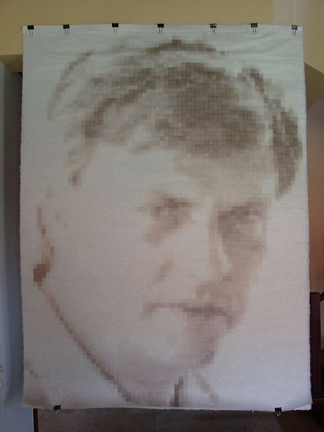 handmade paper pixel art