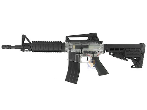 WELL M4A1 RIS 7-8mm Electric Gel Ball Blaster (BK with transparent receiver)