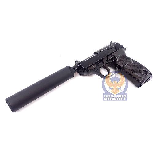 WE P38 Shorty GBB Pistol with Silencer Set (BK)