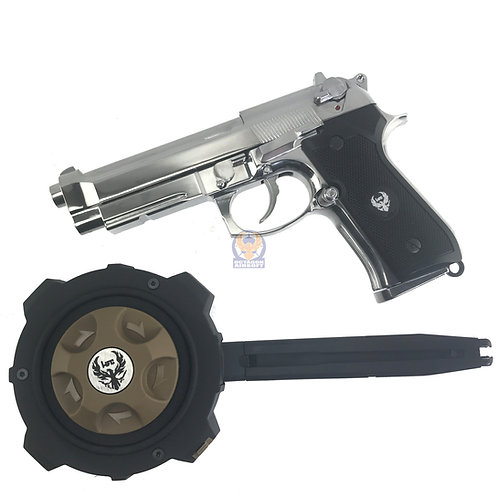 HFC Full Metal Fully Automatic / semi GBB M9 with Metal Gas Drum Mag (SV)