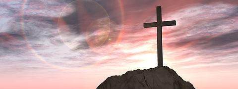 Concept or conceptual 3D illustration cross religion symbol shape on sunset sky, clouds background f