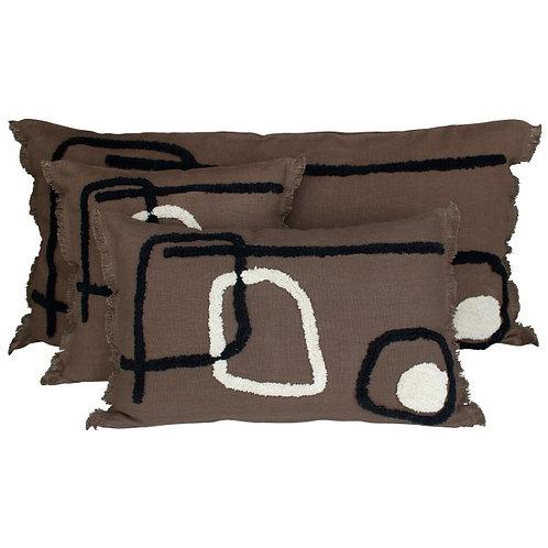 Coussin Tikri brownie 45x45 cm