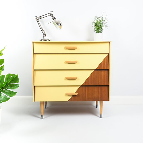 Mid Century Chest Of Drawers Dresser By Avalon Retro Painted Yellow