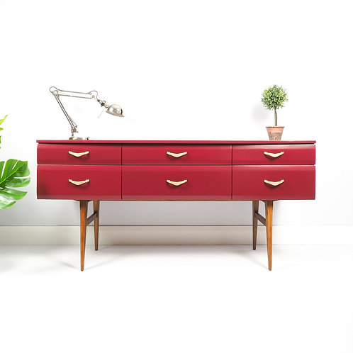 Meredew Mid Century Sideboard Media Unit Storage Cupboard Painted Preference Red