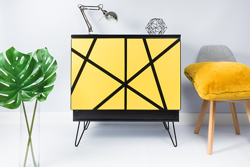 Mid Century Storage Cabinet Painted Black And Yellow With Hairpin Legs Retro