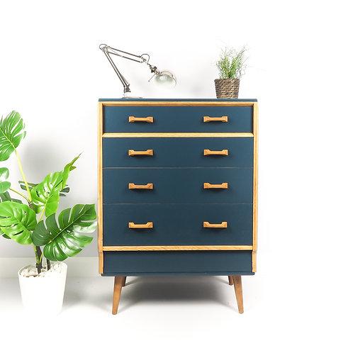 G Plan Mid Century Chest Of Drawers Dresser Storage Retro Painted Hauge Blue