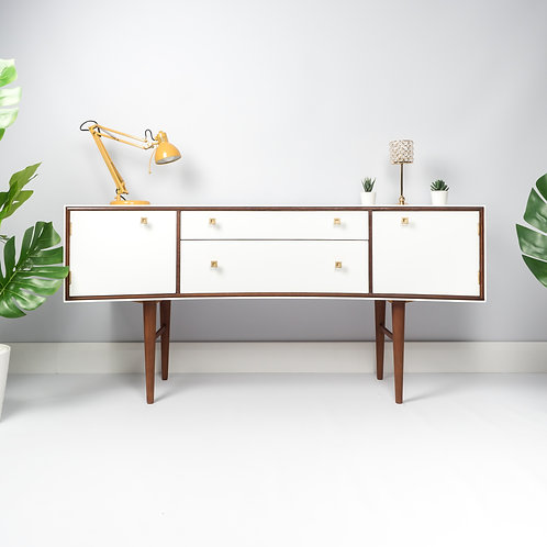Meredew Mid Century Retro Vintage Dressing Table Sideboard Storage Painted White