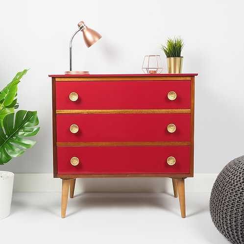 Mid century Chest Of Drawers Upcycled Cupboard Storage Painted Red