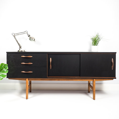 SOLD SOLD SOLD Mid Century Teak Sideboard Dresser By Avalon Painted Black