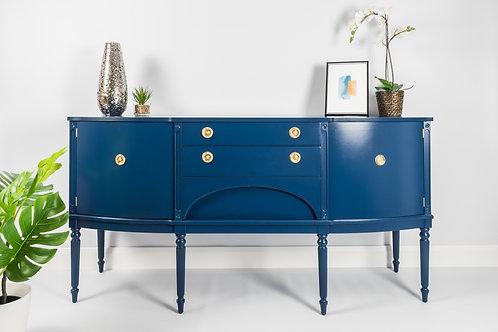 SOLD Vintage Sideboard Painted Navy Blue, Regency Style,Cabinet Mid Century