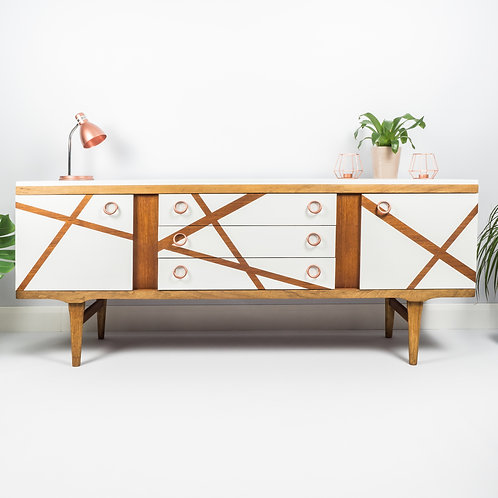 Mid Century Sideboard With Drawers And Cupboard Storage Painted Geometric Design