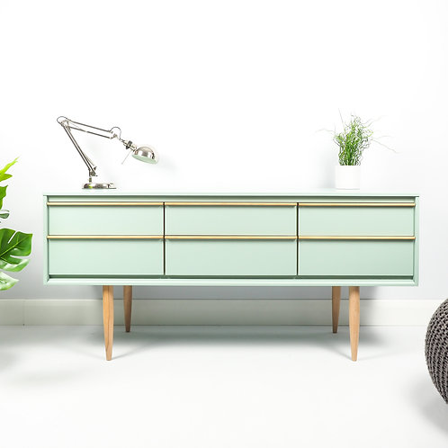 SOLD Mid Century Retro Sideboard Media Unit Storage Cupboard Painted Green