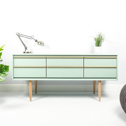 SOLD Mid Century Retro Sideboard Media Unit Storage Cupboard Painted Green