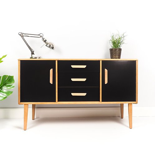 Mid Century Sideboard Dresser Retro Drinks Cabinet Vinyl Storage Painted Black