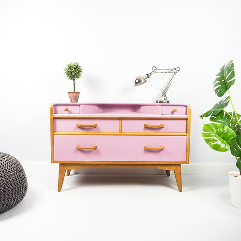 SOLD Mid Century G Plan Oak Dressing Table Sideboard Retro Painted Pink