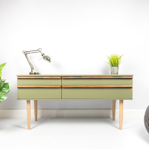 Avalon Mid Century Dressing Table Green Sideboard Painted High Gloss