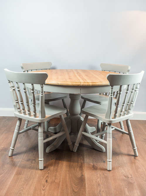 SOLD SOLD Round dining table and four chairs, grey table, kitchen table