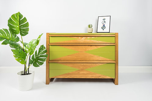 SOLD Chest Of Drawers, Painted Green With Green Triangle, Mid Century