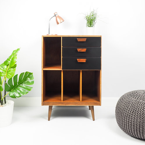 Mid Century Vinyl Storage Record Cabinet Retro Modern Painted Black