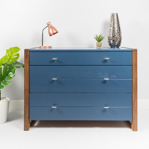 Chest Of Drawers Painted Stiffkey Blue, Storage, Mid Century