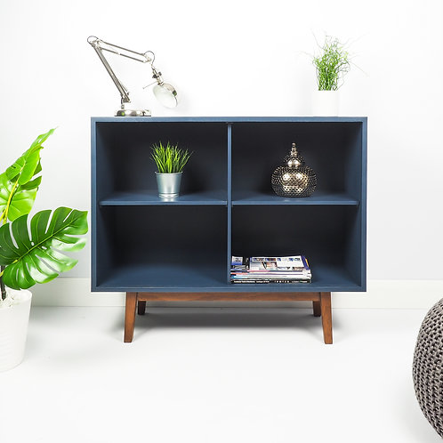 Mid Century Bookcase Retro Painted Furniture, Navy Blue